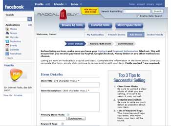 facebook - add item radicalbuy